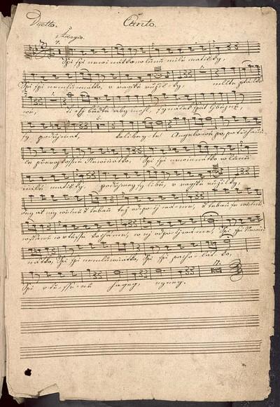 Duetto in Es dur. a. Canto et Alto Solo. Violino Primo et Secundo. Viola di Alto. Clarinetto et Fagotto oblig. Cornuo Primo et Secundo. con Organo et Violon. Del Sig. J. J. Ryba. M. T. Girotka mpria.