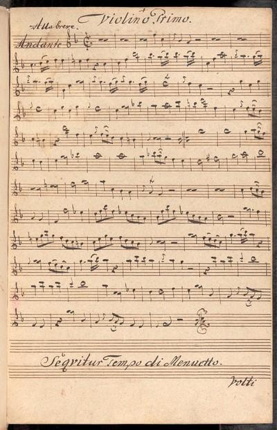 Divertimento ex F. a Violino Primo, Violino Secundo, con Basso, Del Sig: Mislivecžek. Ex Musicalibus Martini Jose: Joach: Strachota mpria.