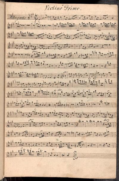 Divertimento ex A# a Violino Primo Violino Secundo Alto Viola con Basso. Del Sig: Mislivecžek. Ex Musicalibus Josephi Cyrilli Strachota mpia.