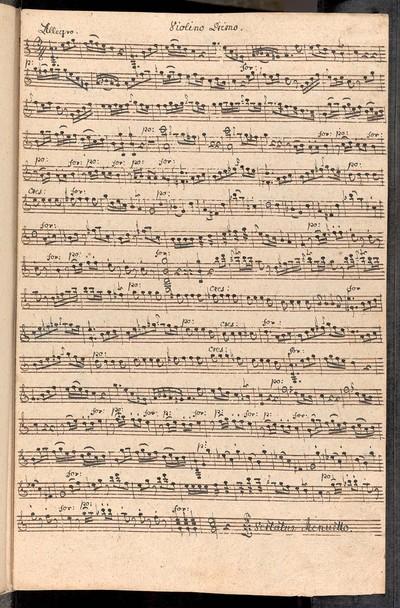 Divertimento ex C. a Violino Primo, Violino Secundo, con Basso. Del Sig: Mislivečzek. Ex Musicalibus Josephi Cyrilli Strachota mppia.