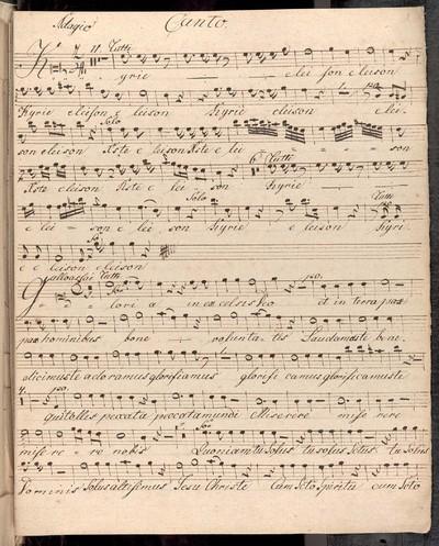 Missa Brevis in C. a Quatuor Vocibus Violino duobus. Clarinetto duobus. Clarino duobus. Alto Viola et Organo. Authore Ryba. Joseph Strachota Jungferteinitz