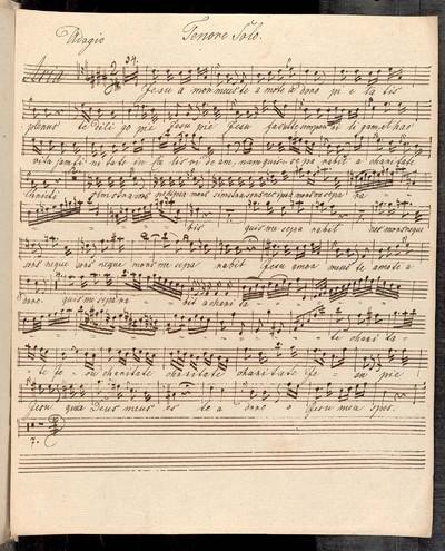 Aria a Tenore Solo Violino Sola [!] Violino 1mo et 2do Alto Viola Corno 1mo et 2do Organo. Authore Reilich. Strachota 18 2/5 47.