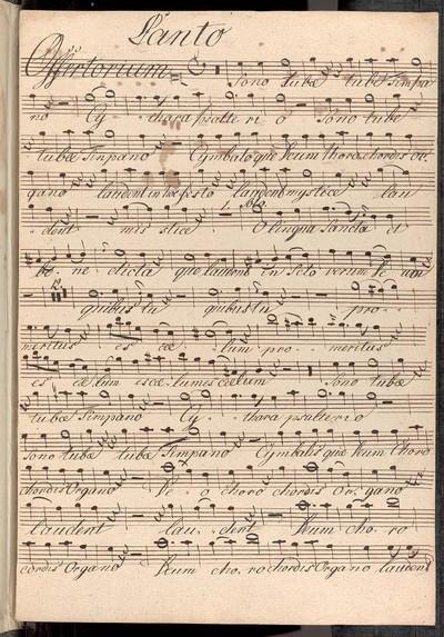 Offertorium in C. Canto, Alto, Tenore, Basso. Violinis duobus Clarinettis duobus Clarinis duobus Principalis oblig: Tinpanis [!] et Organo Authore Rüba Strachota Teinitz.