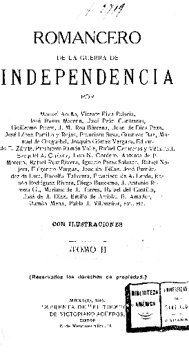 Romancero de la Guerra de la Independencia / por Manuel Acuña, Vicente Rivapalacio, José Rosas Moreno [et al.]