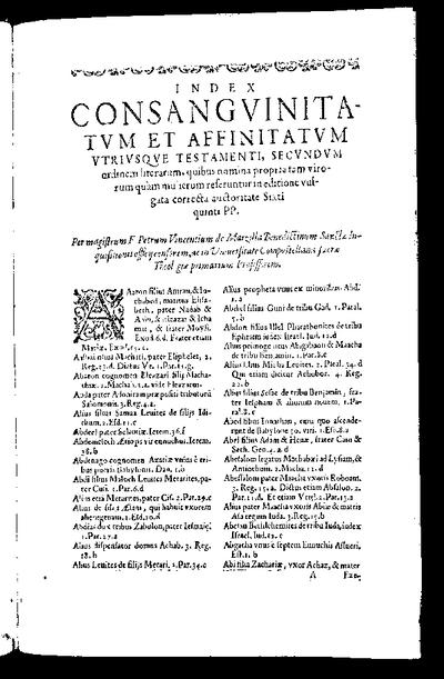 Index consanguinitatum et affinitatum vtriusque Testamenti : secundum ordinem literarum quibus nomina propria tam virorum quam mulierum referuntur in editione vulgata correcta auctoritate Sixti quinti PP. / per Petrum...