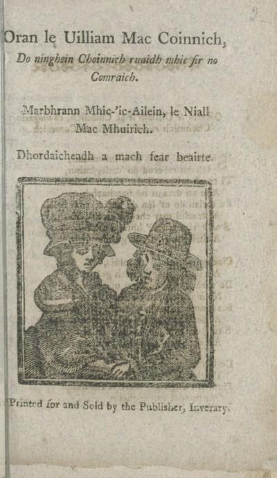 Image from object titled Oran le Uilliam MacCoinnich, do ninghein Choinnich ruaidh mhic fir no Comraich