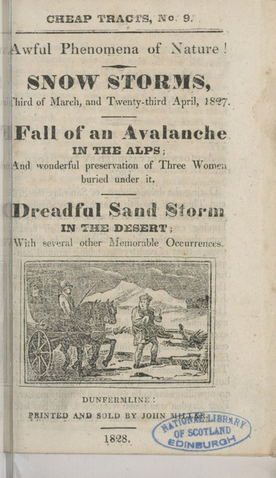 Image from object titled Awful phenomena of nature -- snow storms, third of March and twenty-third April, 1827