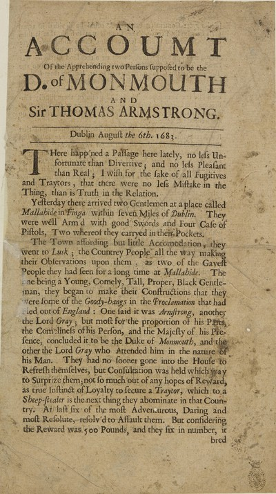 Image from object titled Accoumt [sic] of the apprehending two persons supposed to be the D. of Monmouth and Sir Thomas Armstrong