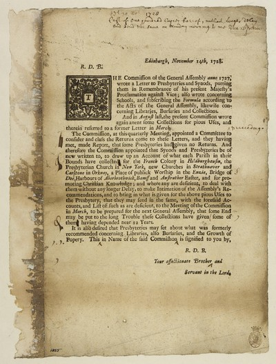 Image from object titled R. D. B. The Commission of the General Assembly anno 1727, wrote a letter to Presbyteries and Synods, putting them in remembrance of his present Majesty's proclamation against vice