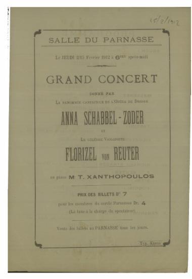 Grand concert donne par Anna Schabbel - Zoder et Florizel von Reuter