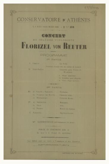 Concert du celebre violoniste Florizel von Reuter