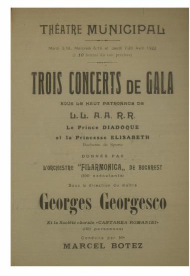 Trois concerts de gala : donnes par l΄ orchestre ΄΄Filarmonica΄΄ de Bugarest
