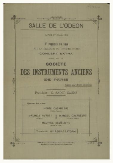 Concert extra donne par la Societe des instruments anciens de Paris