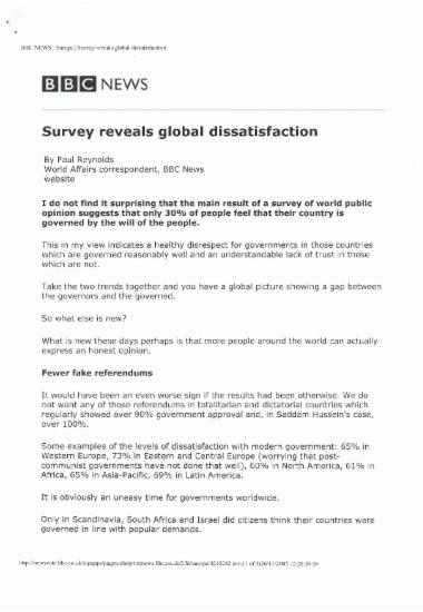 Survey reveals global dissatisfaction
