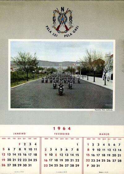 Calendário da Guarda Nacional Republicana [GNR] ano de 1964: [visual gráfico]