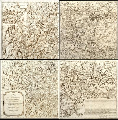 Mapa de la provincia de Extremadura, que contiene los partidos de Badajoz, Alcántara...
