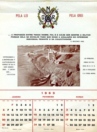 Calendário da Guarda Nacional Republicana [GNR] ano de 1963: [visual gráfico]