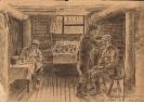 Фронтовой рисунок «В санитарной роте 186 гвардейского стрелкового полка»