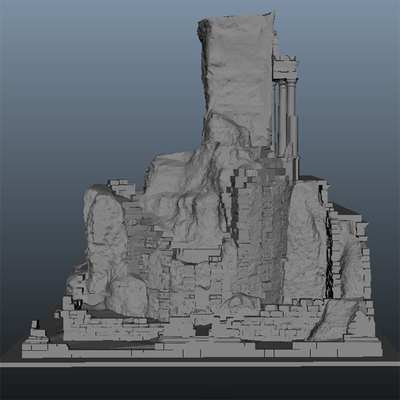 Modèle 3D texturé 2 de l'état actuel du trophée des Alpes (la Turbie)