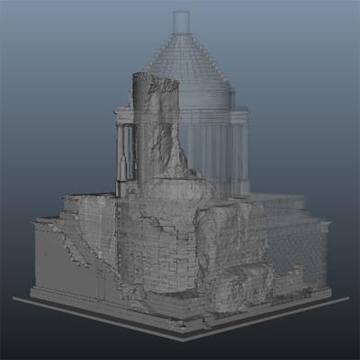 Modèle 3D texturé 3 de l'état initial superposé à l'état actuel du trophée des Alpes (la Turbie)
