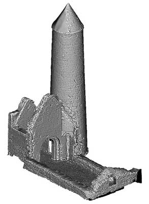 Temple Finghin & McCarthys Round Tower, Clonmacnoise (3D Model)