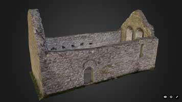 Temple Melaghlin, Clonmacnoise (3D model, textured)