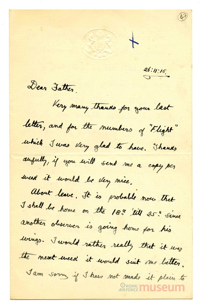 26.11.1915 - Bernard in der Flugausbildung