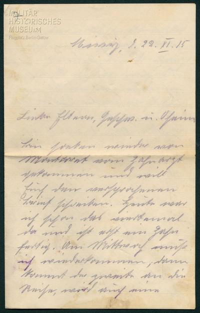 22.11.1915 - Peter hat schlechte Zähne
