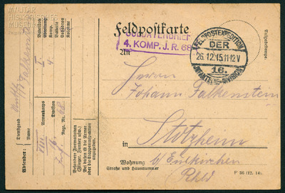 25.12.1915 - Peters zweites Weihnachten im Schützengraben