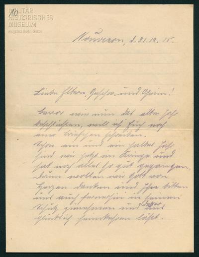 31.12.1915 - Peter baut auf Gottes Führung