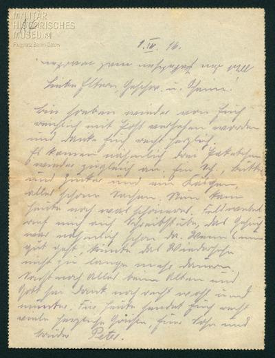 01.04.1916 - Peter möchte zu seiner Familie