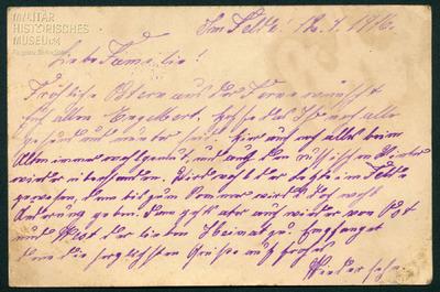 12.04.1916 - Peters Familie erhält einen Brief von der Ostfront