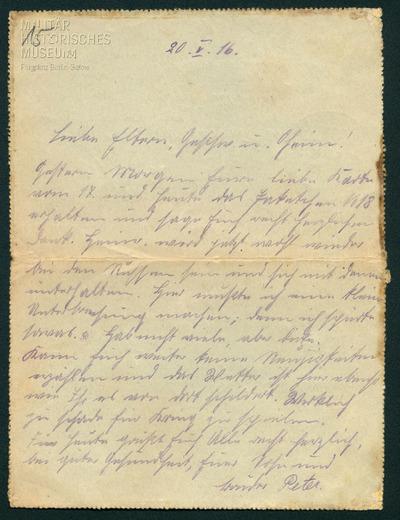 20.05.1916 - Peter verharmlost