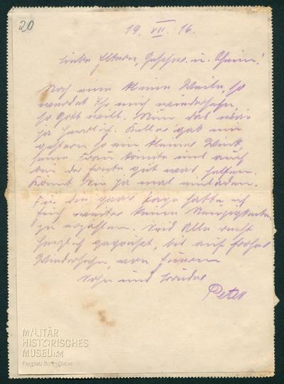 19.07.1916 - Peter will bei der Ernte helfen