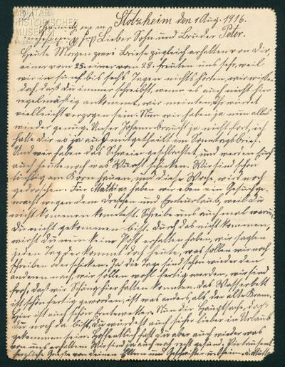 01.08.1916 - Kein Urlaub für Peter