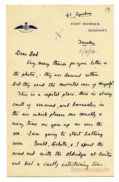 11.04.1916 - Bernard wird nach Gosport verlegt