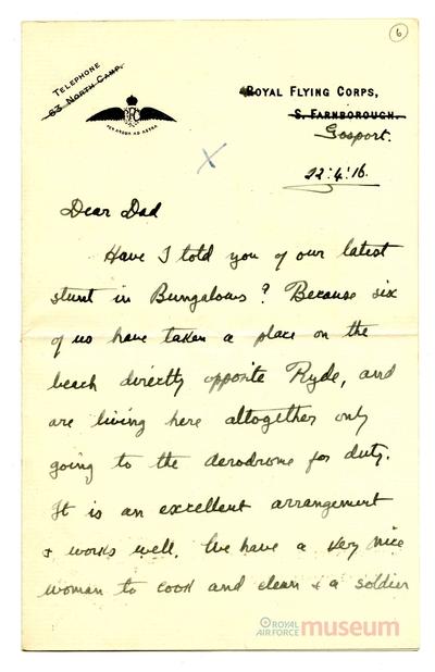 22.04.1916 - Bernards neue Unterkunft