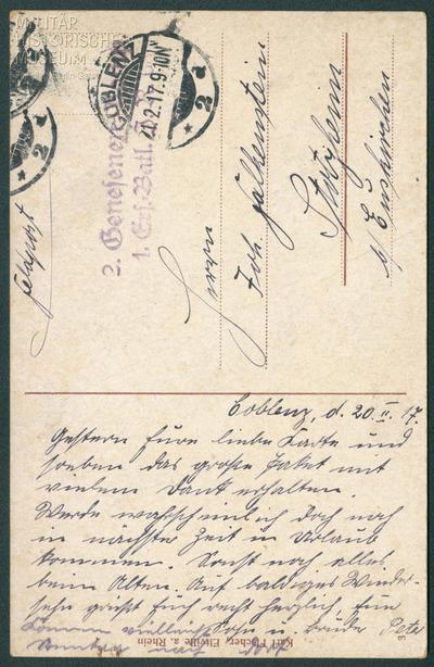 20.02.1917 - Peters Pakete aus der Heimat