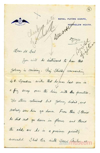 29.10.1917 - Bernards Kamerad wird vermisst