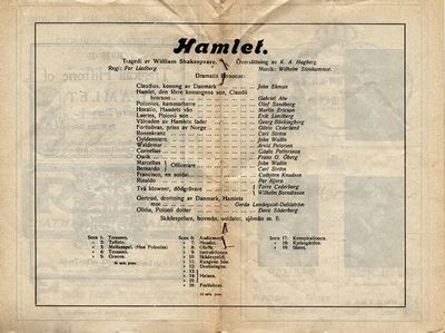 Hamlet, 1920, The tragedie of Hamlet, prince of Denmark, Hamlet, Hamlet, prins av Danmark