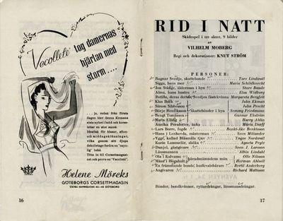 Rid i natt, 1942, Rid i natt, Skådespel i tre akter, nio bilder