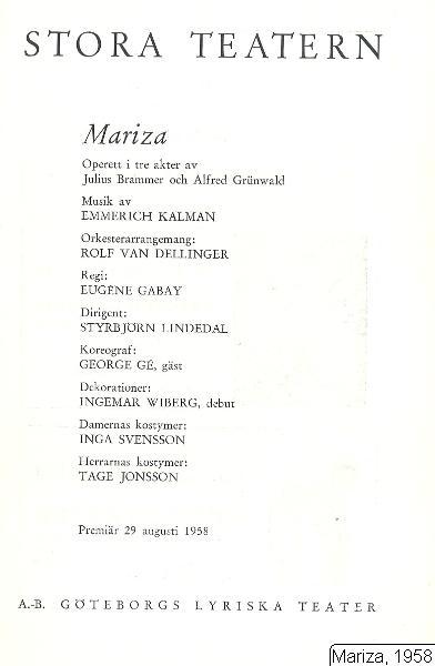 Mariza, 1958, Mariza