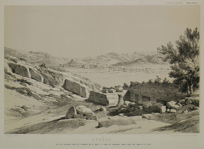 View of Ayasuluk hill and Ayasuluk castle in Ephesus, from the spot known as Saint Paul's tomb.