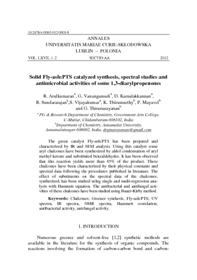 Solid Fly Ash PTS Catalysed Synthesis Sectral Studies And Antimicrobial Activities Of Some