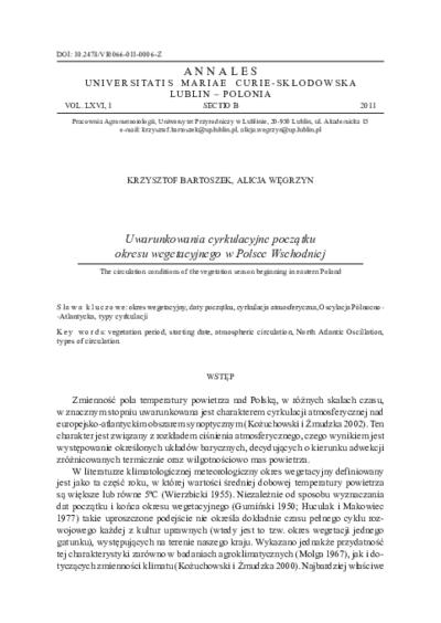 Uwarunkowania cyrkulacyjne początku okresu wegetacyjnego w Polsce Wschodniej