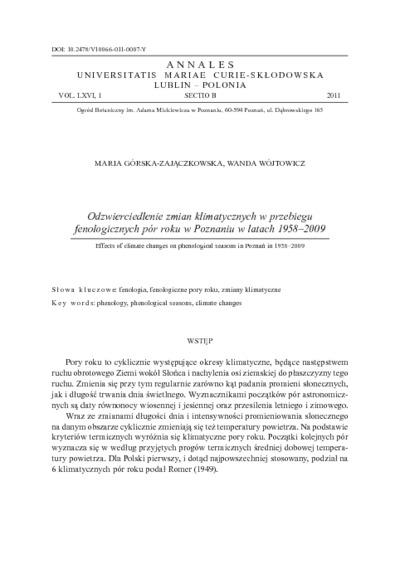 Odzwierciedlenie zmian klimatycznych w przebiegu fenologicznych pór roku w Poznaniu w latach 1958-2009