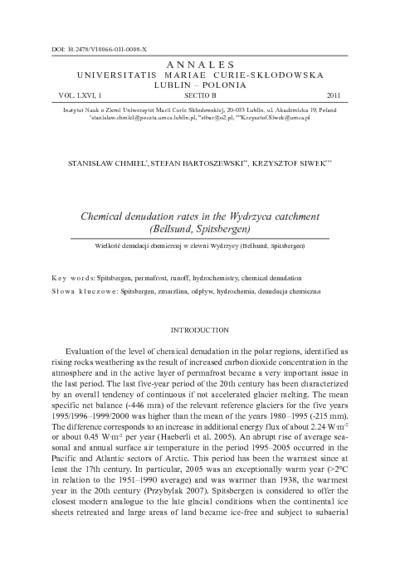 Chemical denudation rates in the Wydrzyca catchment (Bellsund, Spitsbergen)