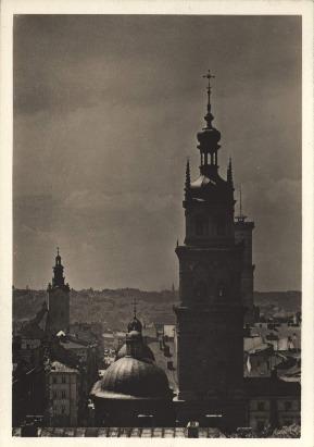 Lwów. Cerkiew woloska na tle miasta