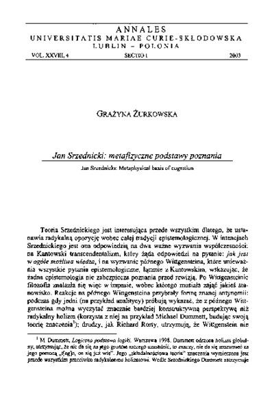 Jan Srzednicki: metafizyczne podstawy poznania