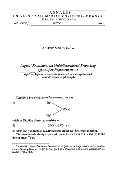 Logical Entailment on Multidimensional Branching Quantifier Representations